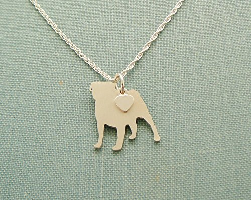 925 Sterling Silver Pug Dog Charm Necklace Layering Silhouette