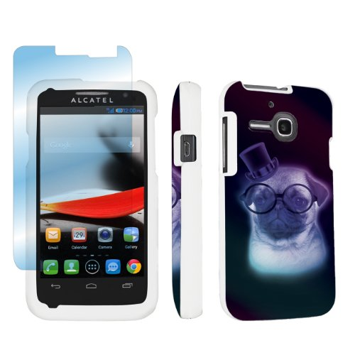 new style 4fca5 95ec6 Alcatel One Touch Evolve 5020T White Full Protection Designer Case + Screen  Protector By SkinGuardz – Pug Puppy