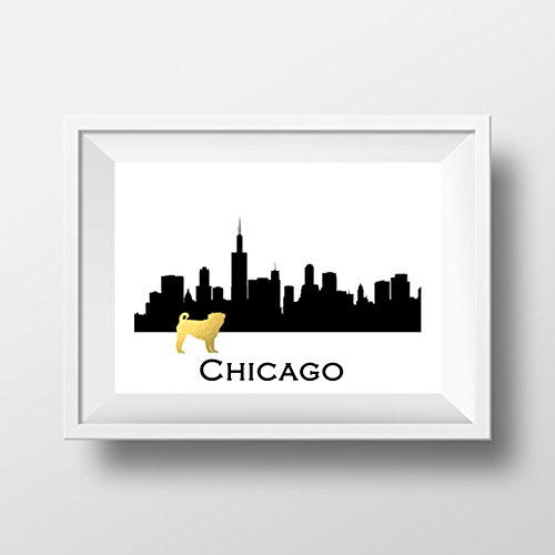 Chicago Skyline Pug Gold Foil Print Pug Art Print Dog Gold Foil Art Print Modern Home