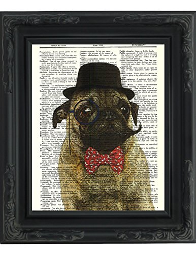 dictionary art print sir pug moustache and bow tie printed on