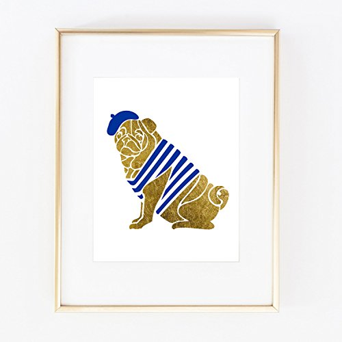 Frenchie Pug French Bulldog Real Gold Foil Home Office Baby Kids