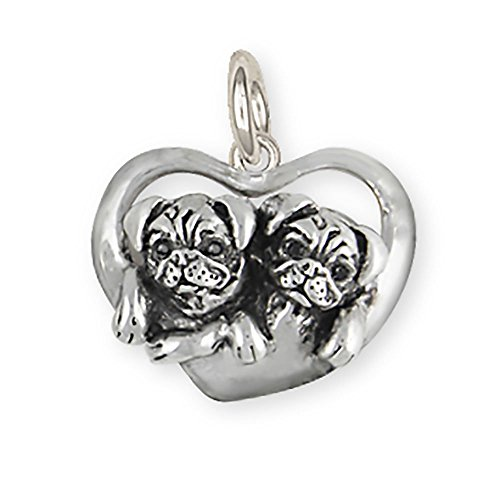 Handmade Double Pug Charm Jewelry Sterling Silver Hm Dblp C