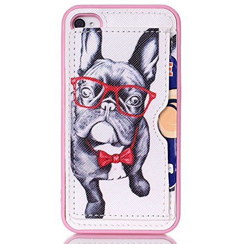 sports shoes a66e9 5cd4b Iphone 4 4S Stand Wallet Case - Funny Cute Pug Pattern Slim TPU ...