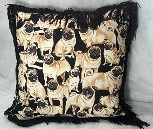 Pug Dog Fawn Luxury Throw Pillows With 4 Black Fringe