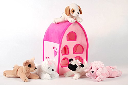 Unipak 12 Plush Pink Dog House Carrying Case With Five 5 Stuffed