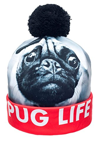 Pink Queen Womens Men Winter PUG LIFE Dogs Animal Printed Pompon ... 3e071e0137