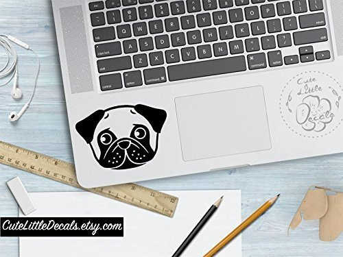 Pug Decal Cute Dog Decals Custom Dog Animal Decal Macbook - Car window decals custom made